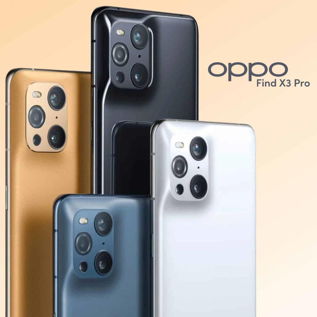 Immagine di quattro smartphone Oppo Find X3 Pro